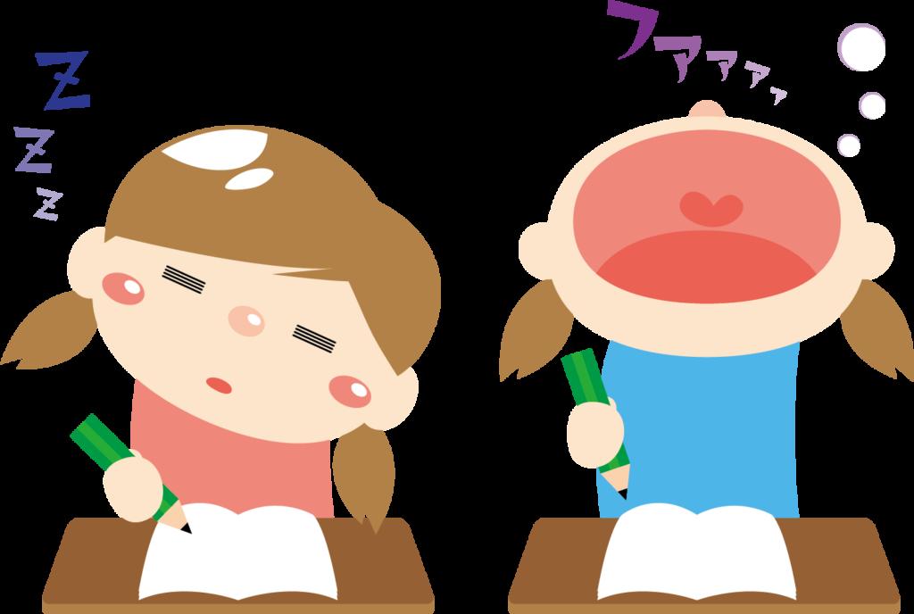 寝不足の子供たち